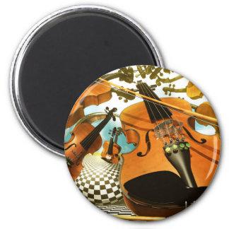 Music violins surreal note art by Lenny Fridge Magnets