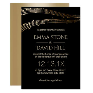 Music Wedding Party Elegant Black & Gold Card at Zazzle