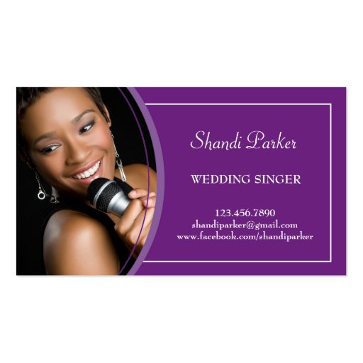 Music Wedding Singer Photo Business Card