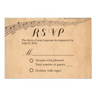 Music Wedding Vintage Musical Response Rsvp Card at Zazzle