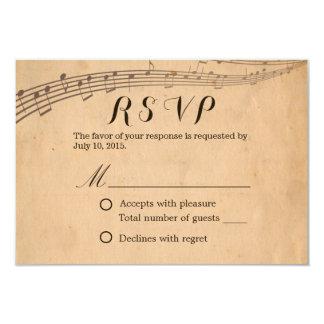 Music Wedding Vintage Musical Response RSVP Card