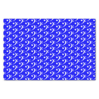 Music White Bass Clef on Blue Tissue Paper