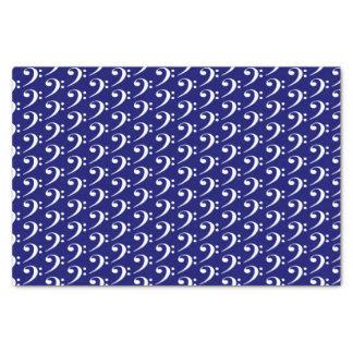 Music White Bass Clef on Dark Navy Blue Tissue Paper
