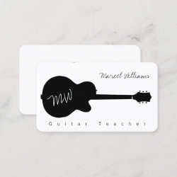 music white business card with a blk. guitar