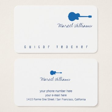 Professional Business music white business card with a blue guitar