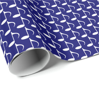 Music White Eighth Notes on Dark Navy Blue Wrapping Paper