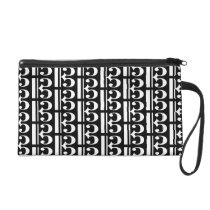 Music White Tenor Alto Clef on Black Wristlet Purse