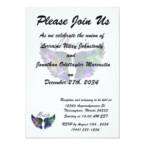 Music wings nova 1 purple green 5x7 paper invitation card
