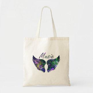 Music wings nova 1 purple green budget tote bag