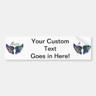 Music wings nova 1 purple green car bumper sticker