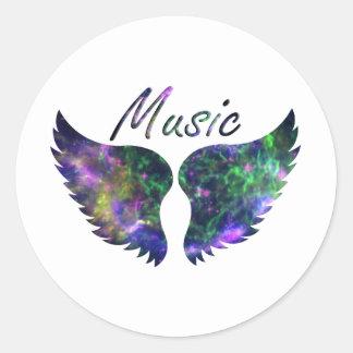 Music wings nova 1 purple green classic round sticker