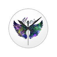 Music wings nova 1 purple green round   wallclocks