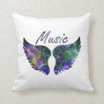 Music wings nova 1 purple green throw pillow