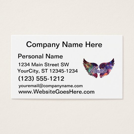 Music wings overlay 1 business card