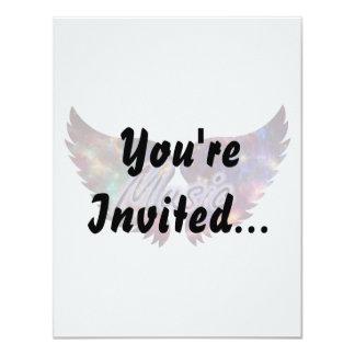 "Music wings overlay 1 4.25"" x 5.5"" invitation card"