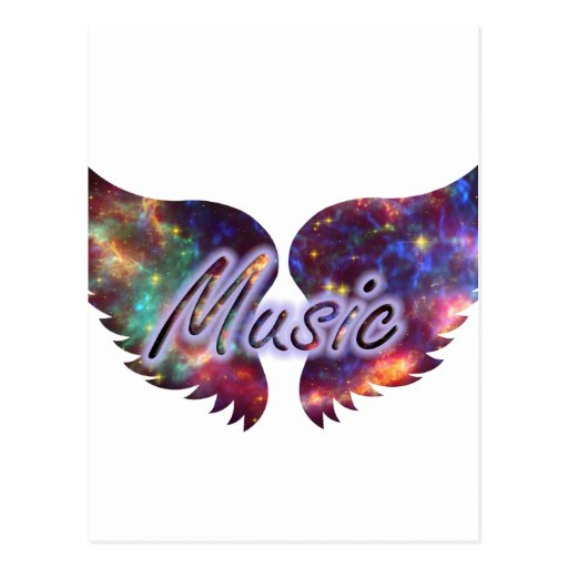 Music wings overlay 1 postcard