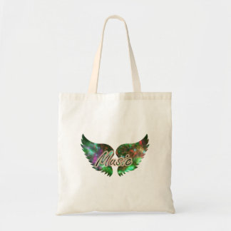Music wings overlay 1 purple green budget tote bag