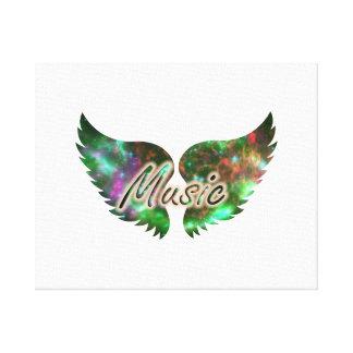 Music wings overlay 1 purple green canvas print