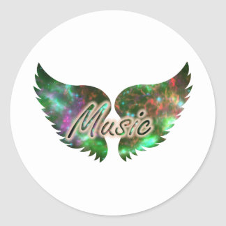 Music wings overlay 1 purple green classic round sticker