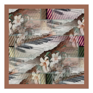 Music with Flowers Poster
