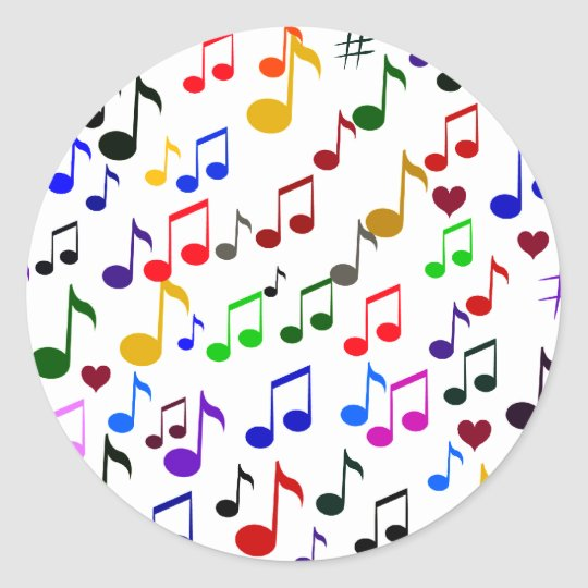 Music with Love_ Classic Round Sticker