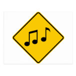 Music Zone Highway Sign Post Card