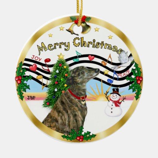 Música 1 de Navidad - galgo (brindle) Adorno Navideño Redondo De Cerámica