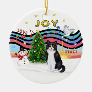 Música #1 - gato blanco y negro de Navidad Adorno Navideño Redondo De Cerámica