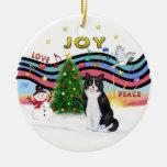 Música #1 - gato blanco y negro de Navidad Ornaments Para Arbol De Navidad