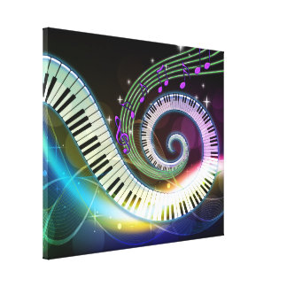 Música 1 lona envuelta impresión en lienzo