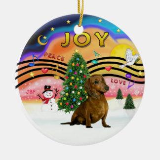 Música 2 de Navidad - Dachshund (marrón) Adorno Redondo De Cerámica