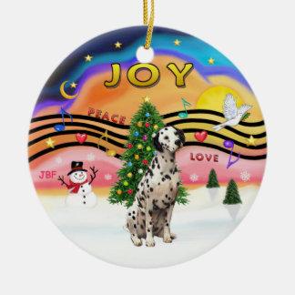 Música 2 de Navidad - Dalmatian Adorno Redondo De Cerámica