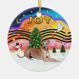 Música 2 de Navidad - galgo (cervatillo liying Adorno Redondo De Cerámica