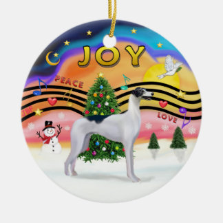 Música 2 de Navidad - galgo (negro-blanco) Adorno Redondo De Cerámica