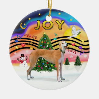 Música 2 de Navidad - galgo (rojo claro) Ornamento De Navidad