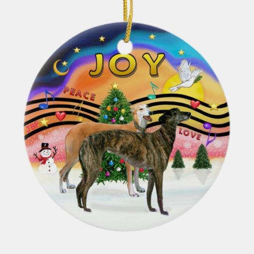 Música 2 de Navidad - galgos (DOS) Adorno Navideño Redondo De Cerámica