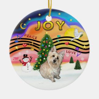 Música 2 de Navidad - mojón Terrier 1 Adorno Redondo De Cerámica