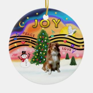 Música 2 de Navidad - pastor australiano (rojo) Ornamento De Navidad