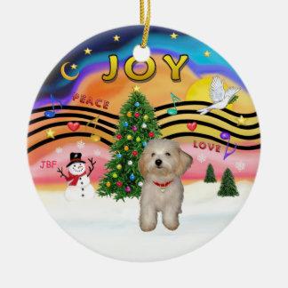 Música 2 de Navidad - perrito de Havanese Adorno Navideño Redondo De Cerámica