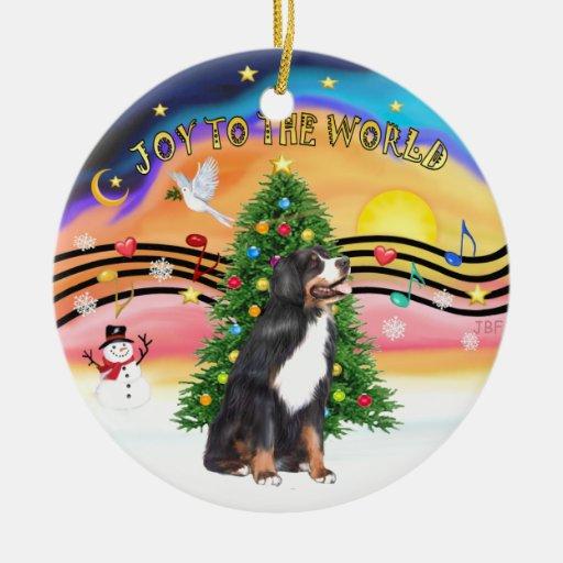 Música 2 de Navidad - perro de montaña de la y Adorno Navideño Redondo De Cerámica
