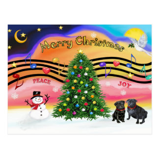 Música 2 del navidad - barros amasados negro dos tarjeta postal