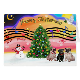 Música 2 del navidad - barros amasados (three-2F-1 Tarjeta De Felicitación