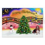 Música 2 del navidad - Basset Hound Felicitacion