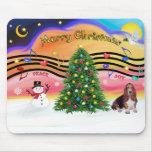 Música 2 del navidad - Basset Hound Alfombrillas De Ratones