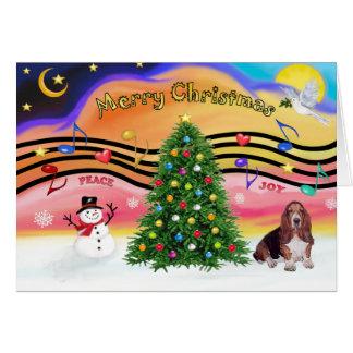 Música 2 del navidad - Basset Hound Tarjeta De Felicitación