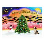 Música 2 del navidad - beagle 1 tarjeta postal