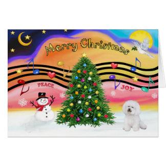 Música 2 del navidad - Bichon 1 Tarjeta De Felicitación