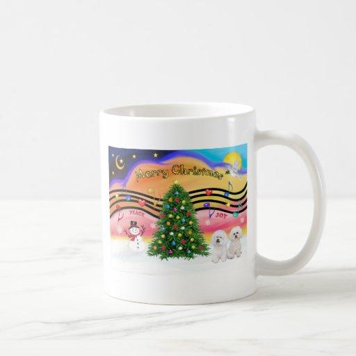Música 2 del navidad - Bichon Frise (dos) Tazas De Café