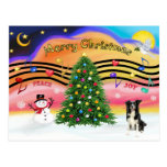 Música 2 del navidad - border collie tarjetas postales