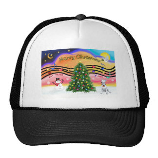Música 2 del navidad - bull terrier 1 gorros bordados